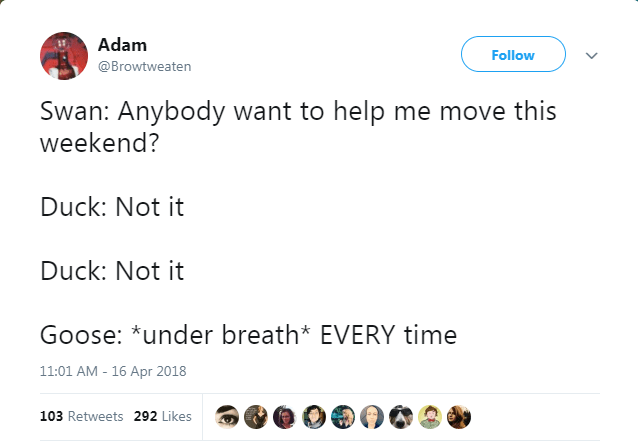 Text - Adam Follow @Browtweaten Swan: Anybody want to help me move this weekend? Duck: Not it Duck: Not it Goose: *under breath* EVERY time 11:01 AM - 16 Apr 2018 103 Retweets 292 Likes