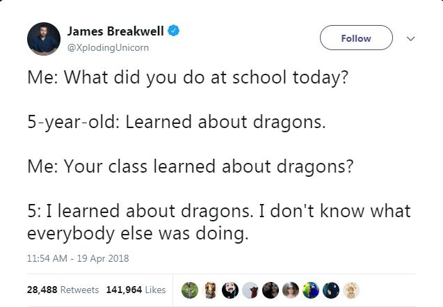 Text - James Breakwell Follow @XplodingUnicorn Me: What did you do at school today? 5-year-old: Learned about dragons. Me: Your class learned about dragons? 5: I learned about dragons. I don't know what everybody else was doing. 11:54 AM - 19 Apr 2018 28,488 Retweets 141,964 Likes