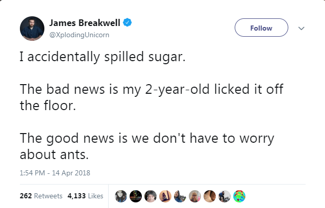 Text - James Breakwell Follow @Xploding Unicorn I accidentally spilled sugar. The bad news is my 2-year-old licked it off the floor. The good news is we don't have to worry about ants 1:54 PM - 14 Apr 2018 262 Retweets 4,133 Likes