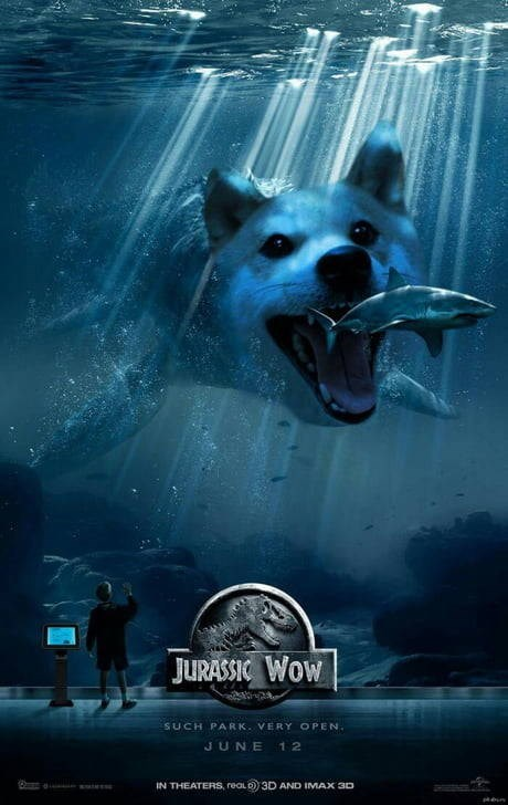 dog meme of a dog photoshop in a Jurrassic World 2015 poster