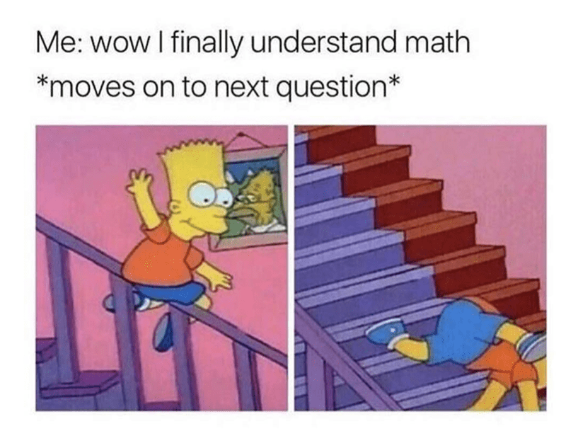 Cartoon - Me: wow I finally understand math *moves on to next question*