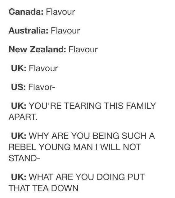 Text - Canada: Flavour Australia: Flavour New Zealand: Flavour UK: Flavour US: Flavor- UK: YOU'RE TEARING THIS FAMILY APART UK: WHY ARE YOU BEING SUCH A REBEL YOUNG MAN I WILL NOT STAND- UK: WHAT ARE YOU DOING PUT THAT TEA DOWN