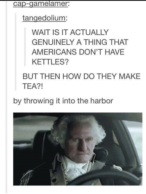 Text - cap-gamelamer: tangedolium WAIT IS IT ACTUALLY GENUINELY A THING THAT AMERICANS DON'T HAVE KETTLES? BUT THEN HOW DO THEY MAKE TEA?! by throwing it into the harbor