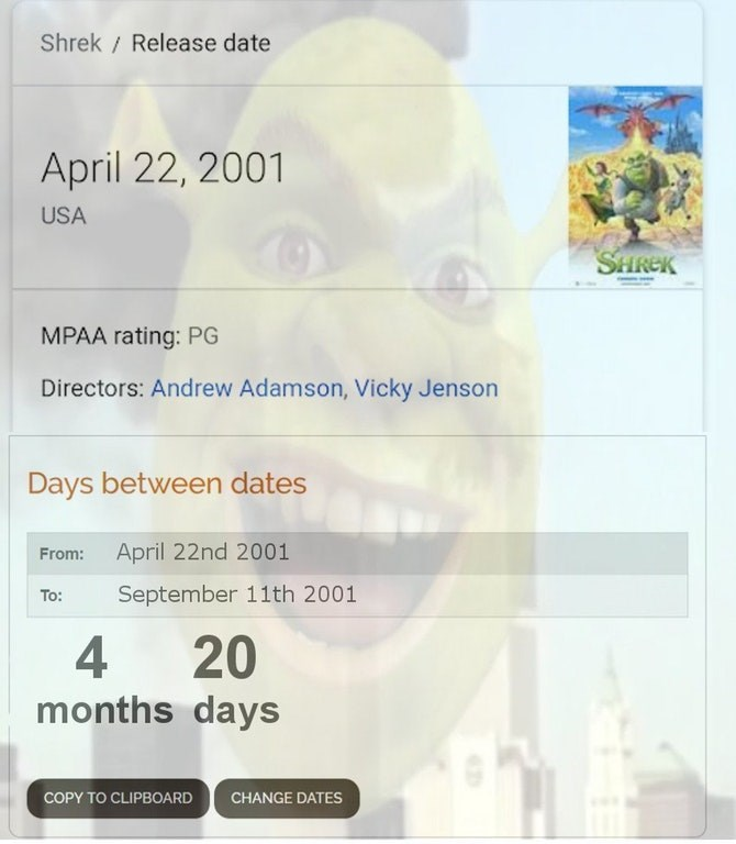 Dank meme about the 9/11 taking place 4 months and 20 days after Shrek was released
