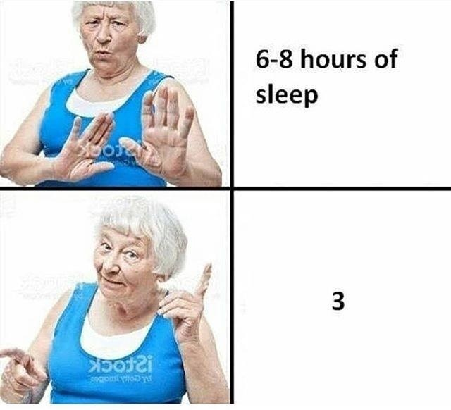 Funny meme about getting 3 hours of sleep instead of 8.