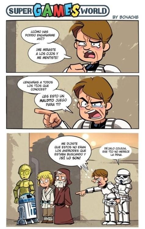 stormtrooper descubre que obi wan lo engana