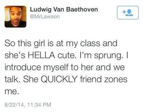 Text - Ludwig Van Baethoven @MrLawson So this girl is at my class and she's HELLA cute. I'm sprung. introduce myself to her and we talk. She QUICKLY friend me. 8/22/14, 11:34 PM