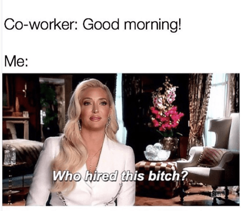 Hair - Co-worker: Good morning! Me: Who hired this bitch?