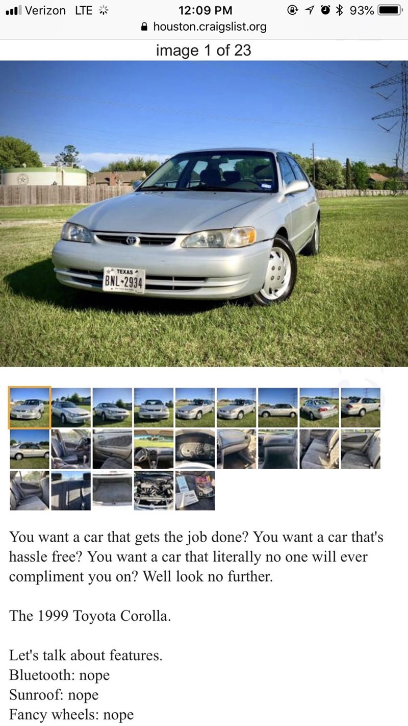 Guy S Hilarious 99 Corolla Craigslist Ad Has Punchlines For Days
