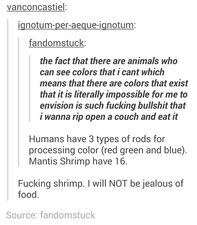 funny tumblr post the fact that there are animals who can see colors that i cant which means that there are colors that exist that it is literally impossible for me to envision is such fucking bullshit that i wanna rip open a couch and eat it Humans have 3 types of rods for processing color (red green and blue) Mantis Shrimp have 16 Fucking shrimp. I will NOT be jealous of food. Source: fandomstuck