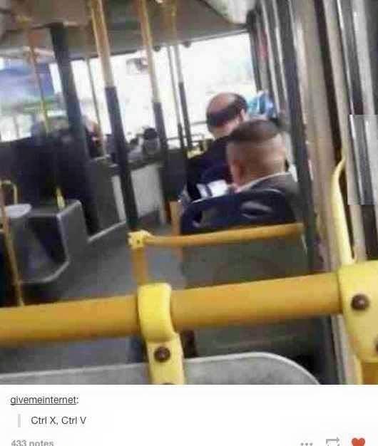 two half bald men sitting on bus funny tumblr post Ctrl X, Ctrl V