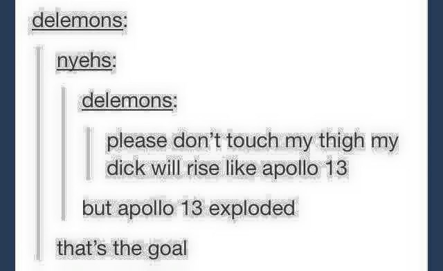funny tumblr post please don't touch my thigh my dick will rise like apollo 13 but apollo 13 exploded that's the goal