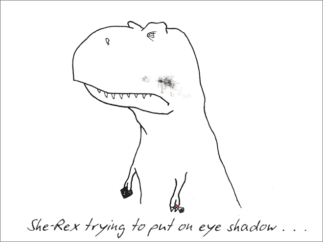 Line art - She-Rex trying to put on eye