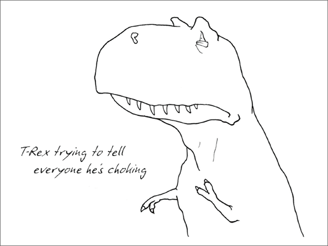 Line art - T-Rex trying to tell everyone hes choling