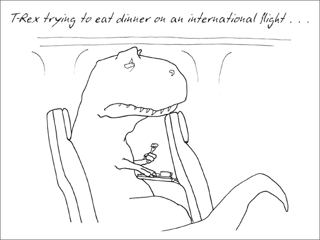 White - nteruational flight. . T-Rex trying to eat dinner ou an