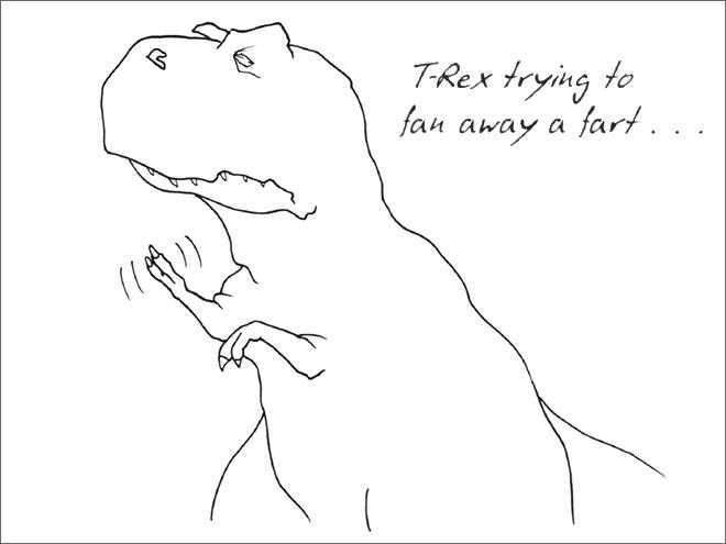 Line art - TRex trying to fan away a fart..