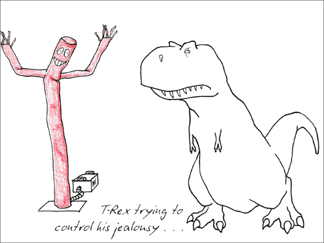 Line art - 00 T-Rex trying to control his jealonsy