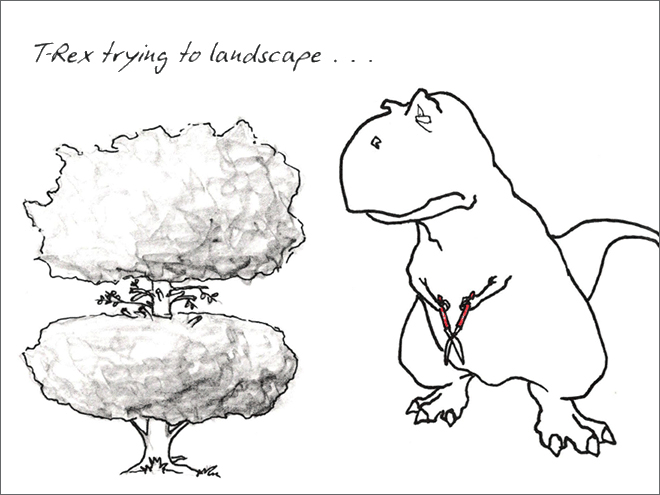 Line art - TRex trying to laudscape ..
