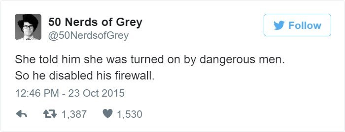 Text - 50 Nerds of Grey @50NerdsofGrey Follow She told him she was turned on by dangerous men So he disabled his firewall. 12:46 PM 23 Oct 2015 t1,387 1,530