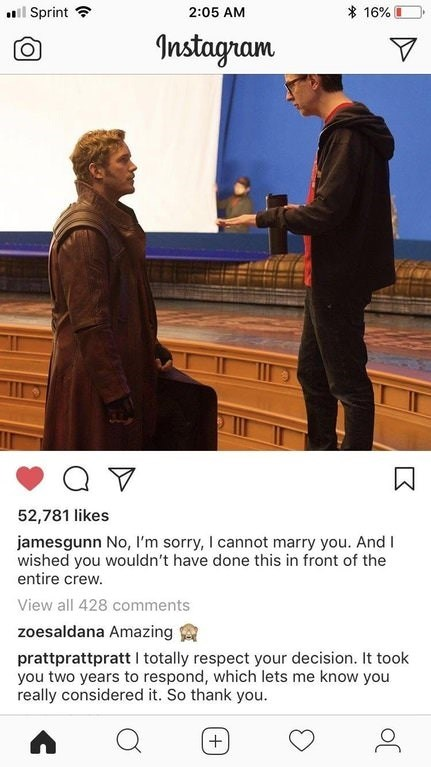 Instagram post of Chris Pratt kneeling in front of James Gunn, seemingly proposing