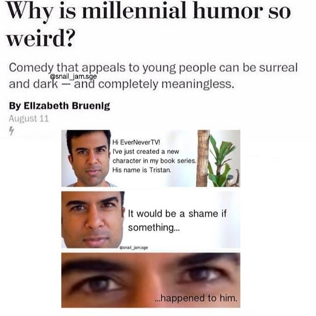 millennial humor meme about evernever tv new book