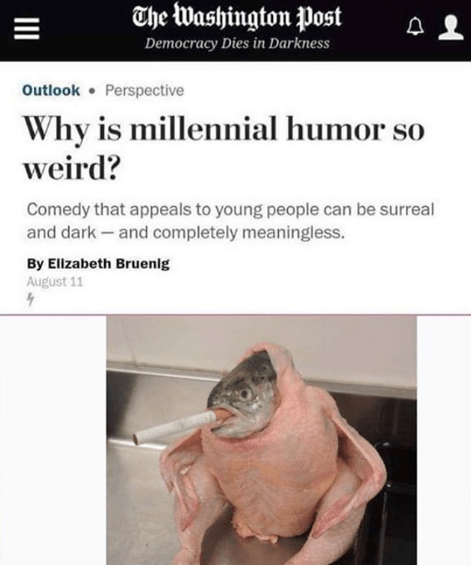 millennial humor meme with image of fish inside chicken smoking cigarette