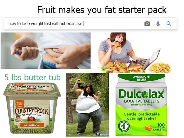 starter pack for people who claim fruit makes you fat