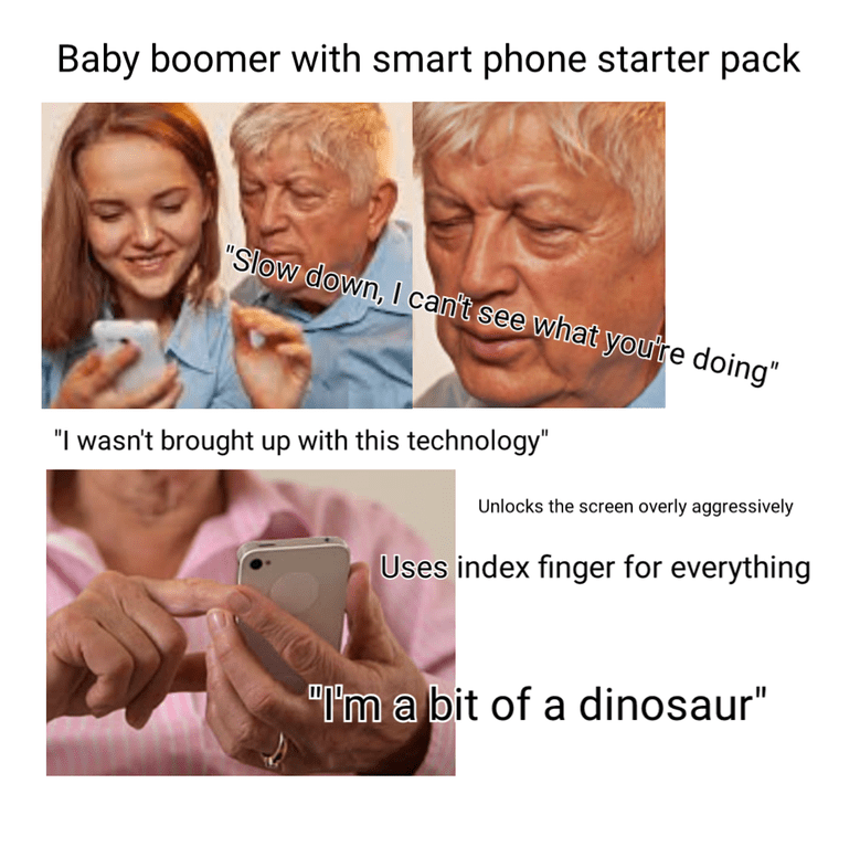 starter pack for baby boomers who own a smartphone