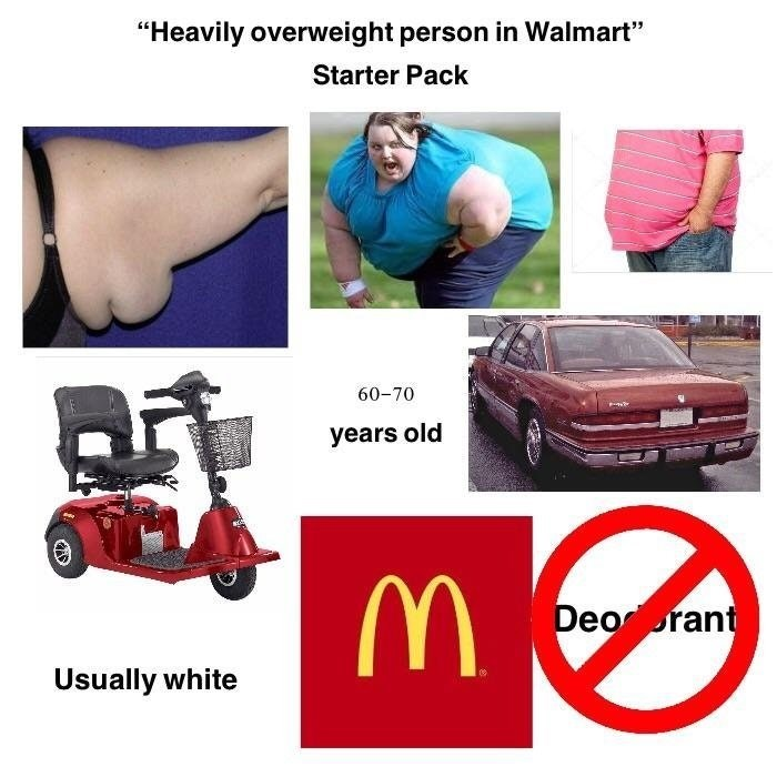 starter pack for a heavily overweight person at a walmart