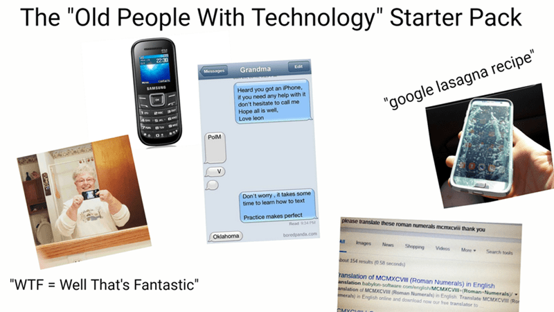 starter pack for old people that have technological devices