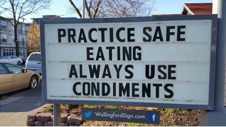 Motor vehicle - PRACTICE SAFE EATING ALWAYS USE CONDIMENTS WallingfordSign.com f