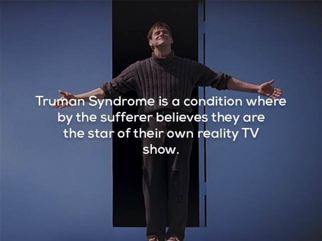 Text - Truman Syndrome is a condition where by the sufferer believes they are the star of their own reality TV show.