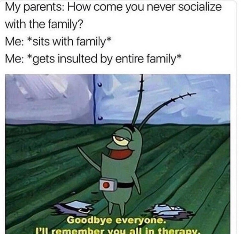Meme of Plankton saying he'll remember everyone in therapy