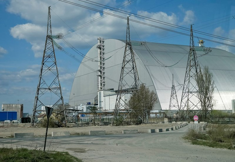 Chernobyl's NSC New Safe Confinement structure that houses the sarcophagus over the damaged forth reactor