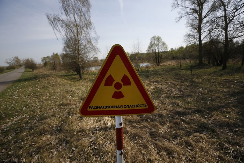 Radiation sign along the Chernobyl 30 kilometer exclusion zone