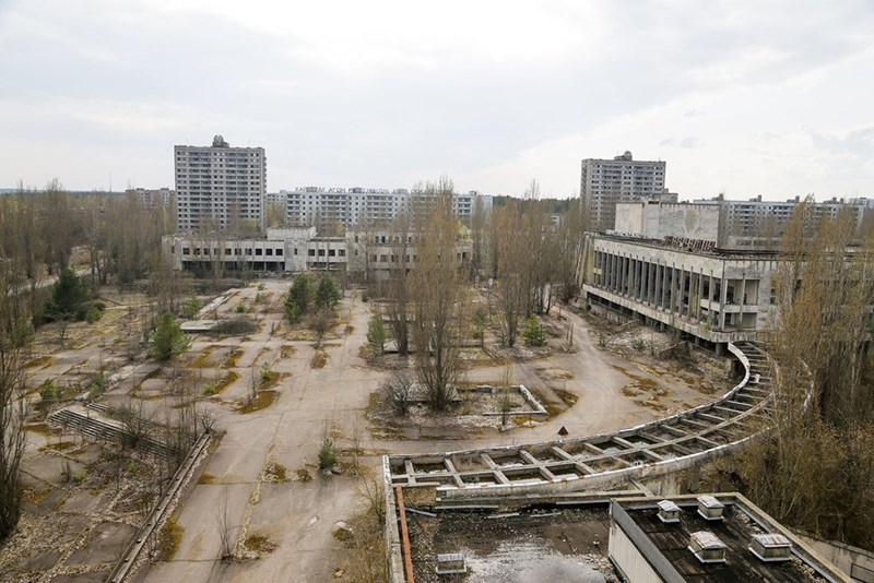 Deserted central square in Pripyat after the Chernobyl nuclear plant disaster