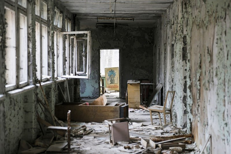 a dilapidated building in pripyat after the Chernobyl evacuation
