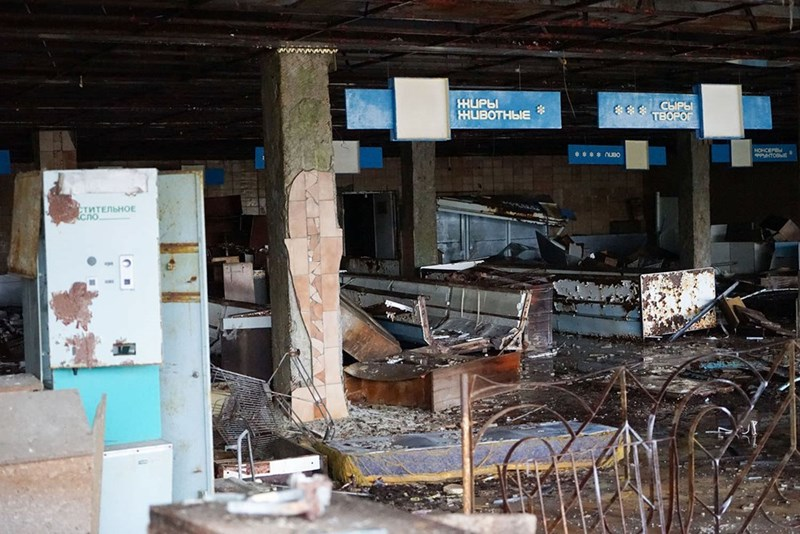 Chernobyl exclusion zone supermarket all empty and in ruins in Pripyat