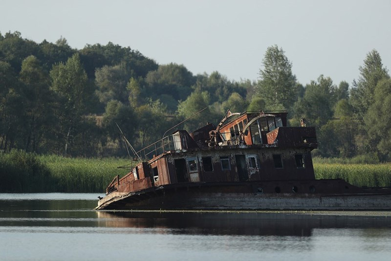 Chernobyl barge sunk and listing in the Pripyat river