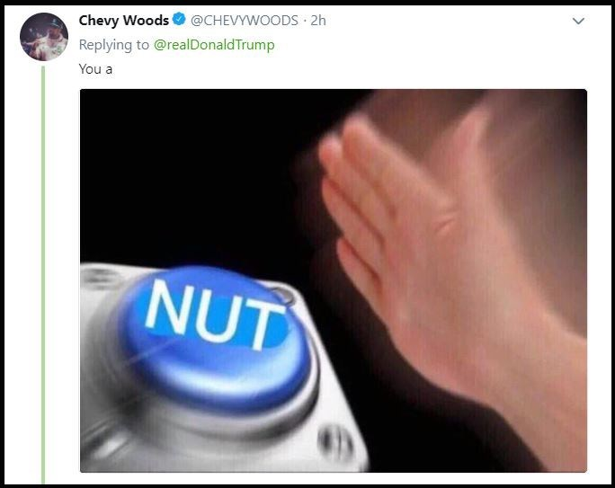Meme with someone pressing a button that says 'you a nut'