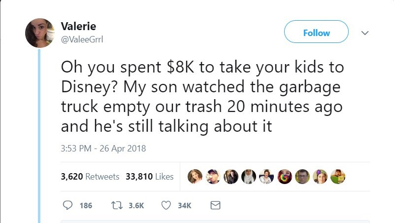 Text - Valerie Follow @ValeeGrrl Oh you spent $8K to take your kids to Disney? My son watched the garbage truck empty our trash 20 minutes ago and he's still talking about it 3:53 PM - 26 Apr 2018 3,620 Retweets 33,810 Likes t 3.6K 186 34K
