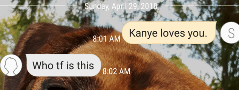 Hair - Sunday, April 29,2018 Kanye loves you. 8:01 AM Who tf is this 8:02 AM