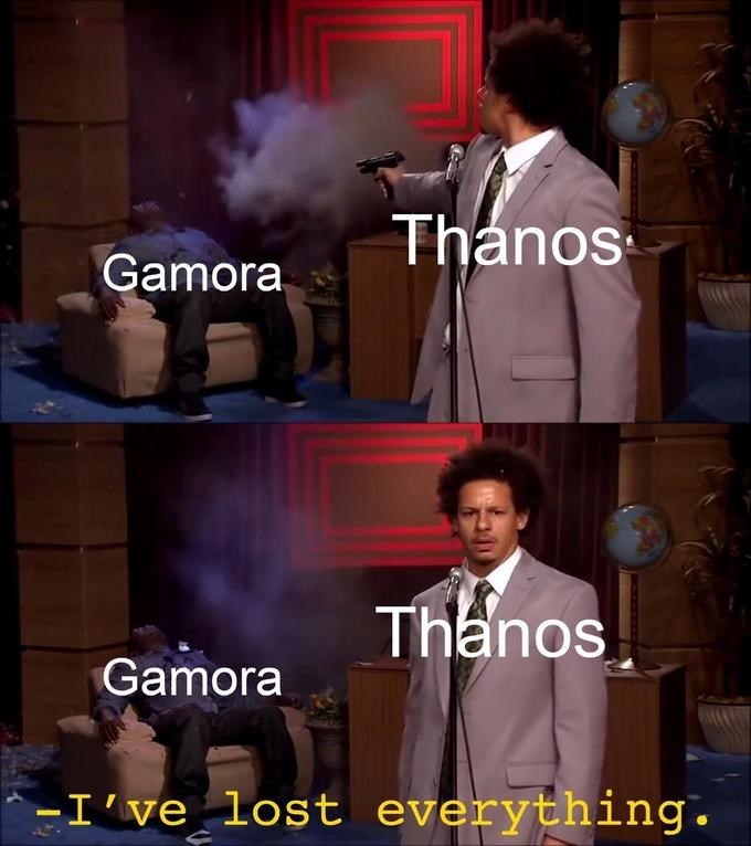 Photo caption - Thanos Gamora Thanos Gamora -I've lost everything.