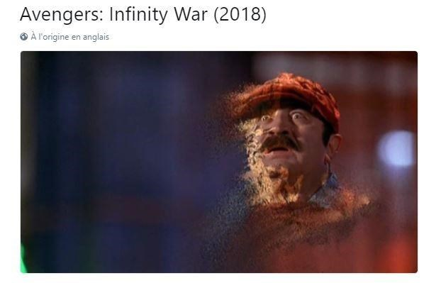 Text - Avengers: Infinity War (2018) À l'origine en anglais