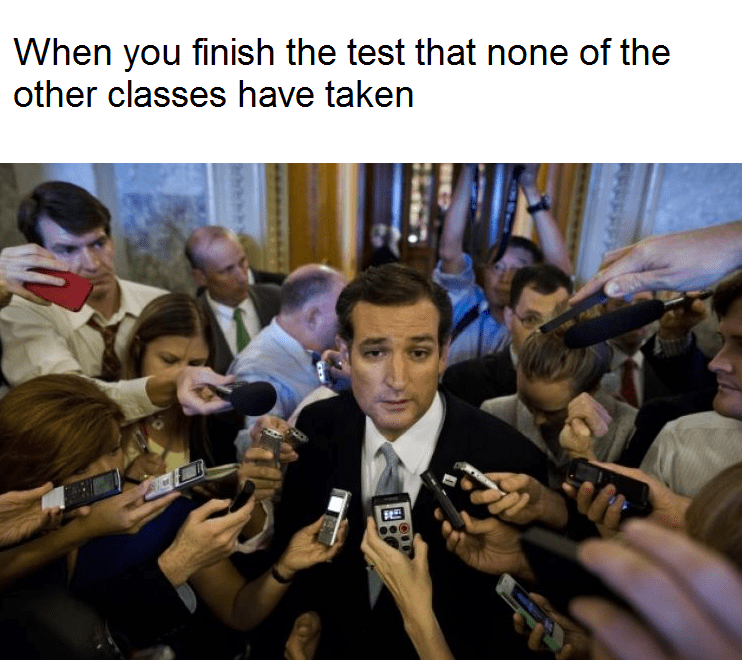 Meme of Ted Cruz speaking into a bunch of microphones