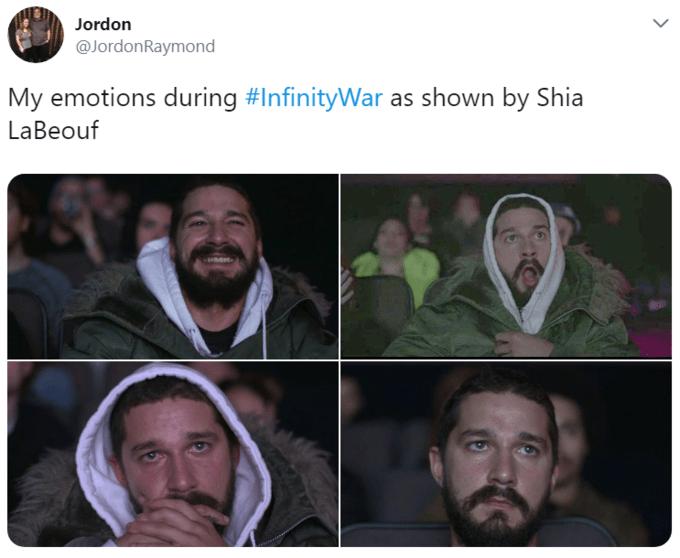 Face - Jordon @JordonRaymond My emotions during #InfinityWar as shown by Shia LaBeouf