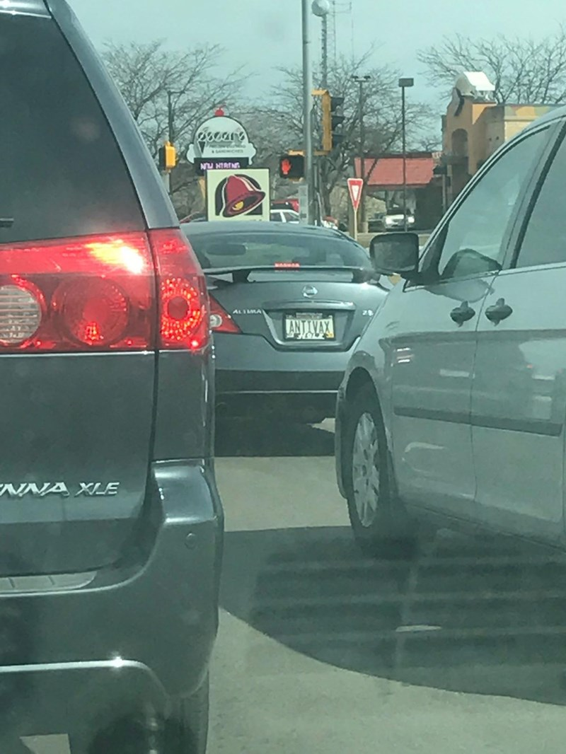 License plate that says 'ANTIVAX'