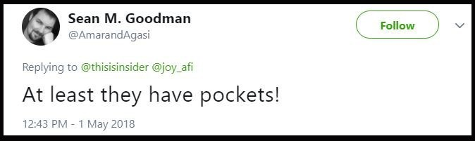 Tweet saying that at least the jeans have pockets