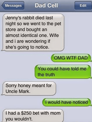 Text - Dad Cell Messages Edit Jenny's rabbit died last night so we went to the pet store and bought an almost identical one. Wife and i are wondering if she's going to notice. OMG WTF DAD You could have told me the truth Sorry honey meant for Uncle Mark. I would have noticed I had a $250 bet with mom you wouldn't.