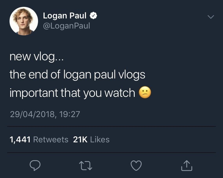 Logan Paul Tweeting that he won't be doing daily vlogs anymore